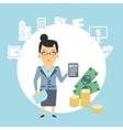 bank employee counts money vector image