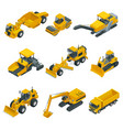 big isometric set of construction equipment vector image vector image