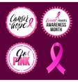 Breast Cancer Awareness Ribbon and Badges vector image