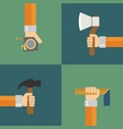 builders modern set flat background with hand vector image