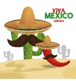 cactus chili hat viva mexico design vector image vector image