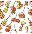 canape small snack and appetizer seamless pattern vector image