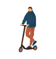 cartoon man riding scooter modern ways moving vector image