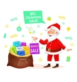 Christmas sale Santa Claus holding Xmas gift vector image vector image