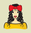 curly hair girl vector image