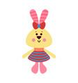 cute cartoon bunny animal toy colorful vector image