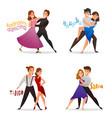 dancing pairs retro cartoon set vector image