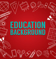 education school supplies lined icon stuff square vector image