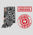 electric collage indiana state map and snowflakes vector image vector image