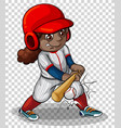 female baseball player on transparent background vector image vector image