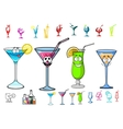 Happy cartoon cocktails with straws characters vector image