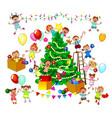 happy kids decorate christmas tree vector image