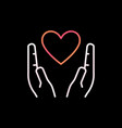 heart in hands outline colorful icon love vector image