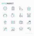 hypermarket thin line icons set vector image vector image