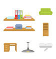 interior of the workplace cartoon icons in set vector image vector image
