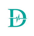 letter d initial logo d-initial medical logo with vector image vector image