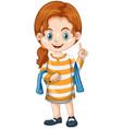 little girl pointing finger up vector image vector image
