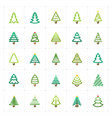 mini icon set - christmas tree icon vector image vector image