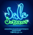 neon light shopping promo poster sale summe vector image vector image