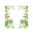 original square frame of green leaves branches vector image vector image