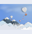 paper art of blue sky background with balloon vector image
