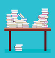 pile of books on a wooden table vector image