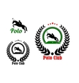 Polo club design with player and rearing up horse vector image