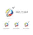 rocket and camera shutter logo vector image vector image