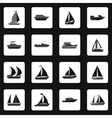 Sailing ship icons set simple style vector image vector image