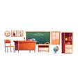 school classroom furniture cartoon set chalkboard vector image vector image