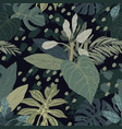 seamless hand drawn tropical pattern with vector image