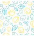 seamless pattern tropical fish outline summer vector image vector image