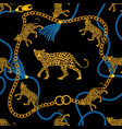 seamless pattern with gold chain vector image