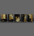 set cards 2021 happy new year gold black texture vector image