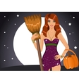 Sexy Halloween witch holding a broom and a pumpkin vector image