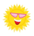 Sun Face with sunglasses and Happy Smile vector image