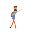 super hero dad character with backpack pointing at vector image vector image