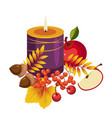 thanksgiving autumn with candle vector image