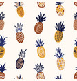 trendy seamless pattern with textured pineapples vector image