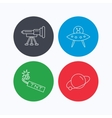 Ufo planet and telescope icons vector image vector image