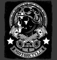 vintage biker skull with crossed piston emblem vector image