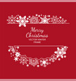 white snowflake frame red background framework vector image vector image