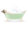 Woman taking a bath with foam vector image
