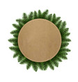 wreath with fir tree vector image vector image