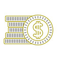 yellow line coins cash money with peso symbol vector image vector image