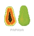 Pixel art game style papaya isolated vector image