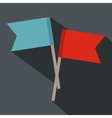 2 small flags flat icon vector image