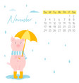 2019 calendar with funny pig monthly page