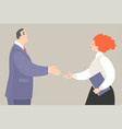 a man and woman getting ready to shake hands vector image