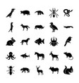 animals solid icons pack vector image vector image